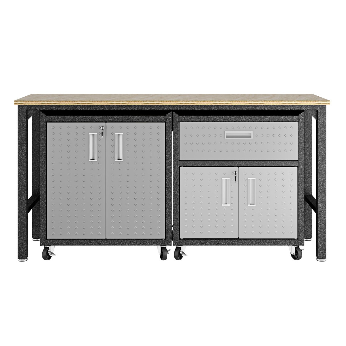 3-Piece Fortress Mobile Space-Saving Garage Cabinet and Worktable 2.0