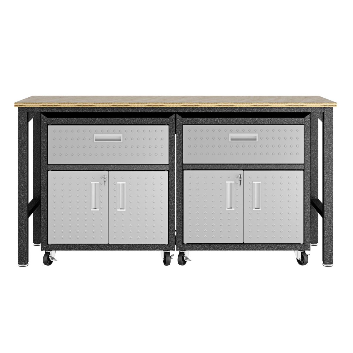 3-Piece Fortress Mobile Space-Saving Garage Cabinet and Worktable 4.0