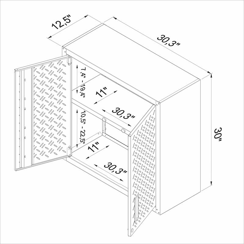 Fortress Floating Garage Cabinet - Set of 2